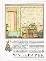 1920s BIG Vintage Wallpaper Guild Twenties Bedroom Interior Decor Art Print Ad