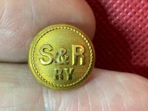 S&R/RY ~ SEATTLE & RENTON RAILWAY (WASHINGTON) 14.5MM GILT BUTTON SA FRENCH 1895