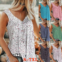 Women Summer Sleeveless V Neck T Shirt Casual Floral Print Blouse Loose Tank Top