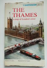VINTAGE 1977 THE THAMES a map of London's River - Bartholomew - London Gift