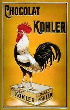 Kohler Chocolat Hahn Blechschild Schild 3D geprägt gewölbt Tin Sign 20 x 30 cm