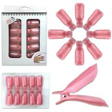 1pk Bow Ribbon Style Pink Acrylic Nail Soak Off Finger Cap Clips Wrap Tool
