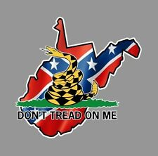West Virginia, Sticker, Dont tread on me, flag sticker, Rebel, Car Truck window