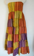 One Size 14 16 18 Orange Yellow Purple Cotton Maxi Skirt Strapless Dress BNWOT