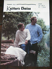 "Knitters Choice Knitting Pattern: Mens & Ladies Aran Sweaters, 32-44"", E948"