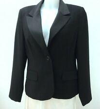 NEW *Evie* Ladies Black Work/Office Blazer Jacket with Satin Collar UK 14