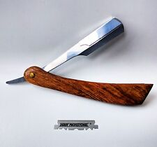 Wood Straight Edge Cut Throat Razor Professional Barber Shavette + Blades + case
