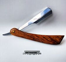Wood Straight Edge Cut Throat Razor Professional Barber Shaver + Blades + case