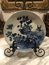 More details for a believed ming dynasty chinese hand painted charger plate depicting birds
