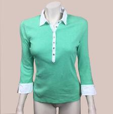 Womens Ralph Lauren Small Green Striped Henley Top 3/4 Sleeves Cotton S