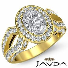 Oval Cut Diamond Engagement Halo Pave Set Ring GIA I SI1 18k Yellow Gold 2.88ct