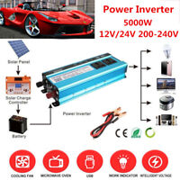 Solar Power Inverter 5000W LED 12V/24V DC to 110V/220V AC Sine Wave Converter