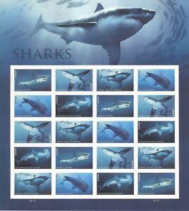 USPS Sheet of Stamps Sharks Marine Biology Shark Week Great White Mako MNH 2016