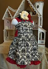 NWT PERSNICKETY Parisian Holiday Corset Dress  Boutique Damask Lucy Headband 2t