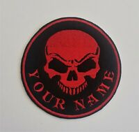 Personalised Embroidered Skull Name Patch Badge Banner Iron on sew on