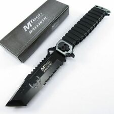 Spring-Assist Folding Pocket Knife Mtech Silver Skull Black Tanto Serrated Blade