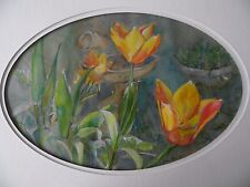 Tulips in a Sunlit Garden. Flowers. Watercolour by Brian Blair. Framed.