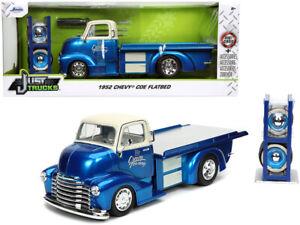 1/24 Jada JUST TRUCKS 1952 Chevy COE Flatbed & Extra Wheels Diecast Blue 32708