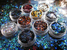 GLITTER dark HALLOWEEN MANICURE PAILLETTES  NAIL ART  SEQUINS unghie POLISH GEL