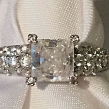 Pre-loved S/S Diamond Like C/Z Emerald Cut Engagement Style Ring sz 8.5 SPARKLY