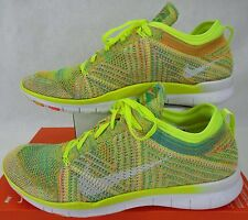 New Womens 11 NIKE Free TR Flyknit Volt White Hot Lava Shoes $130 718785-700