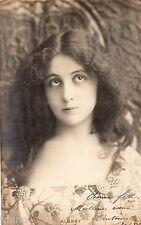 BE435 Carte Photo vintage card RPPC Femme woman Albray portrait studio decor