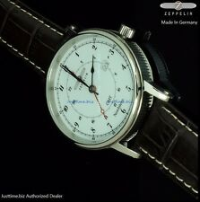 Graf Zeppelin Nordstern Swiss Ronda GMT Watch Coin-Edge 7546-1 Men's Dress Watch