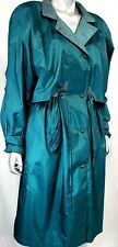 Vintage British Mist Women's Teal Rain Coat Size 11/12 P with Zip Out Lining