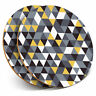 2 x Coasters - Yellow Grey Black Triangle Pattern Home Gift #24585