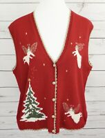 Southern Lady Christmas Sweater Vest Womens XL Red Gold V-Neck Angels Sleeveless