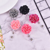 Anti-Lost Clip Clip ID Name Card Rose Shape Badge Reel Key Ring Badges Holder_TI