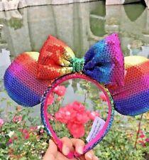 Disney Parks Minnie Mouse Rainbow Sunshine Sequin Ears Headband For Pride Adult