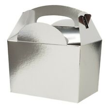 10 Childrens Silver Gift Boxes ~ Birthday Party Snack Lunch Meal Food Bag Box