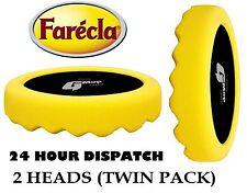 """Paquete Doble Farecla G Mopa 6"""" amarillo esponja con relieve 150mm Gancho & Lazo"""