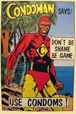 1980's preservativo Uomo educazione sessuale Poster A3 RISTAMPA