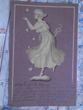 Wedgewood Figur Frau Tanzen Herzen Gemälde Kunst Postkarte Ansichtskarte 3409