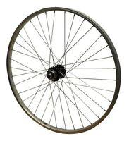 "26"" REAR Bolted ScrewOn Quando Black 6 Bolt Disc Hub and Silver Rim MTB Wheel"