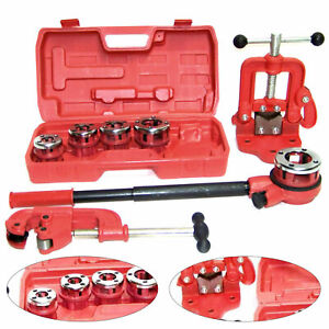 Pipe Threader Ratchet Type Kit W/ 5 Dies+Pipe Cutter # 2+Clamp On Pipe Vise #2