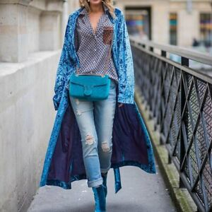 Floral Velvet Lapel Collar Trench Coat Womens Casual Loose Maxi Overcoat Outwear