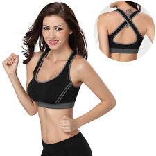 Yoga Women Fitness Stretch Workout Tank Top Seamless Racerback Padded Sports Bra