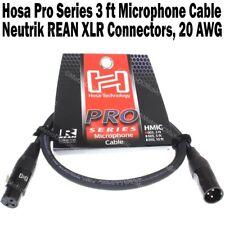 Hosa Pro Series 3 ft XLR Microphone Cable Neutrik REAN Connectors HMIC-003