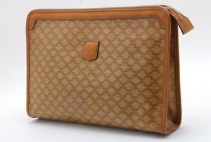 【Rank  BC】Auth CELINE Vintage Macadam Triomphe Clutch Bag From Japan A032