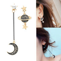 Chic Women Star Moon Crystal Ear Studs Asymmetric Long Drop Dangle Earrings Gift