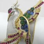 Vtg Signed Boucher Phoenix Bird Goldtone Glass Rhinestone Brooch Pin