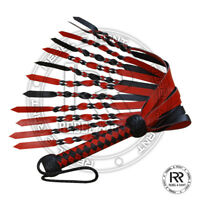 Real Genuine Heavy Leather Red & Black Double Pasted Leather Art Flogger Whip