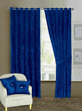 Heavy Crushed Velvet Ready Made Fully Lined Ring Top Curtain Pair Tieback Eyelet