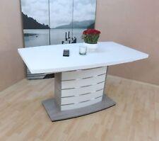Säulentisch Ausziehbar Esstisch Esszimmertisch Tisch Farbe: Weiß/Silber