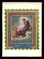 santino incisione 1800 S.LUCA EV.  dip. a mano