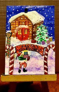 "Aceo Original "" Santa's  workshop """