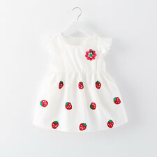 Baby Girl Newborn Toddler Infant Flower White Dress Summer Clothing 0-6M Skirt